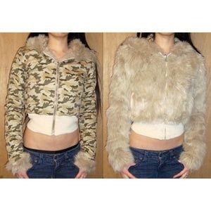 Wet Seal Reversible Fur Hood Crop Coat